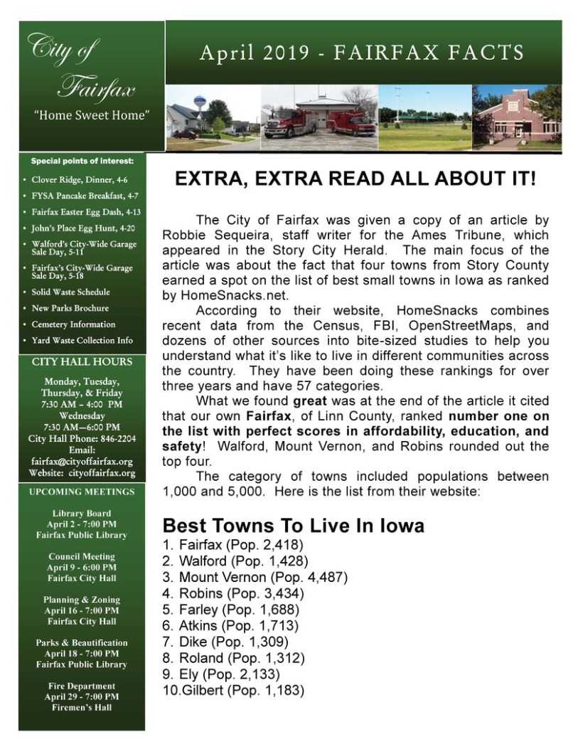 Photo of City of Fairfax Newsletter, April 2019