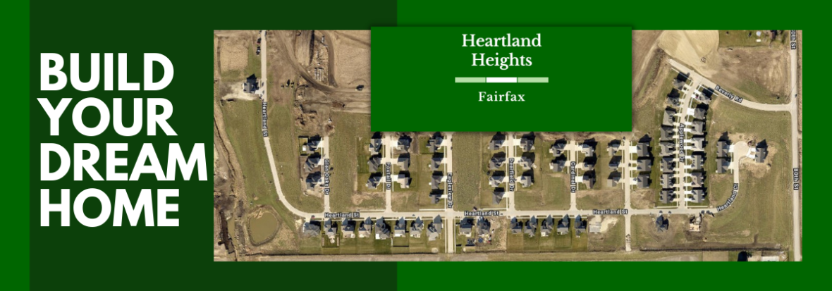 Builder Your Dream Home Banner with aerial of Heartland Heights